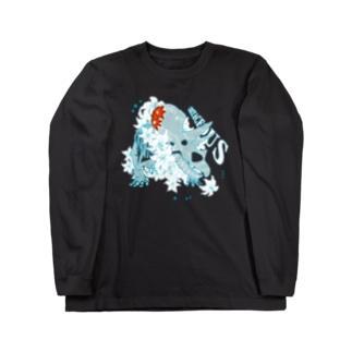 ユリとクレマチスと恐竜 Long sleeve T-shirts
