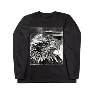 天空を司る鳥の王者【鷲】 Long sleeve T-shirts
