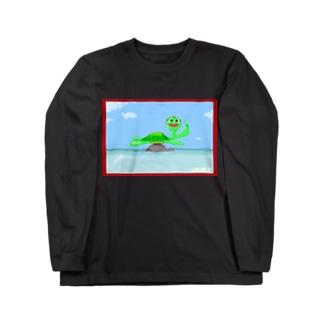TUNAGU(アメリカン甲羅干しさわやかお顔の赤枠ver) Long sleeve T-shirts