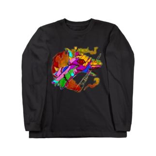 テアソビ犬ロングスリーブTシャツ(カラフルver.) Long sleeve T-shirts