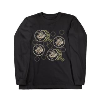 キンカチョウと風車 Long sleeve T-shirts
