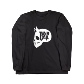 TWINTAIL-white skull Long sleeve T-shirts