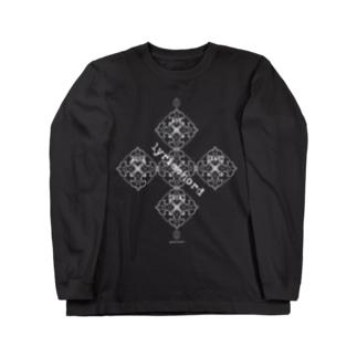 lyricchordシード白ライン/ドローイングアート Long sleeve T-shirts