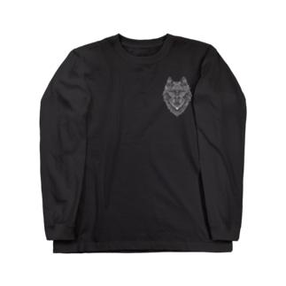 ウルフ/白地 Long Sleeve T-Shirt