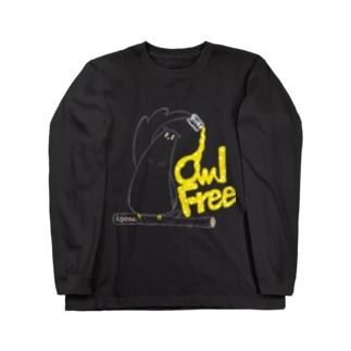 I.gasu owlfree1 【アイガス】 Long sleeve T-shirts
