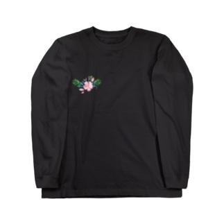 水彩気分の花柄 Long sleeve T-shirts