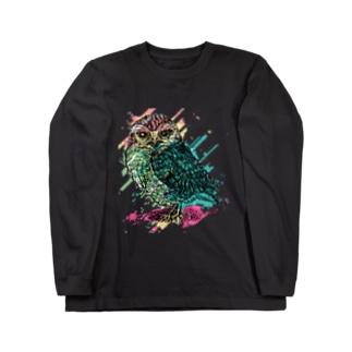 楓[Kaede]のRainbow owl Long sleeve T-shirts