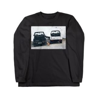 ジムニーと猫_ギリシャ Long sleeve T-shirts