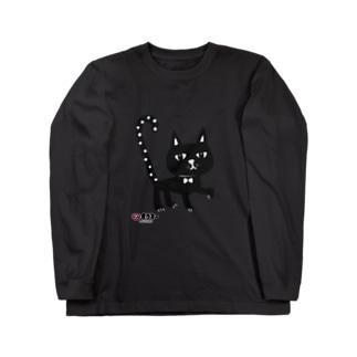 水玉しっぽの黒猫ちゃん Long sleeve T-shirts