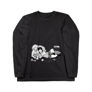 寝っころGIRL vol.5『谷宮いづ美』&愛犬『ダイス』 Long sleeve T-shirts