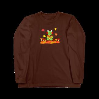 あゆ@ LINEスタンプ発売中の秋のかえるさん Long sleeve T-shirts