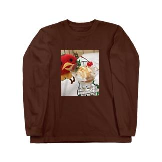かわいいばーもんとアイスクリーム Long sleeve T-shirts
