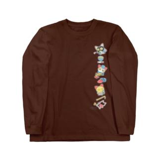 忙しいねこたち 昭和のデカ タテ Long sleeve T-shirts