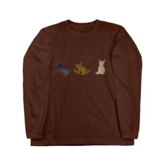 猫迷彩グリーンベース Long sleeve T-shirts