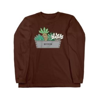 多肉植物たにくさん(パウンドケーキ型に集合) Long sleeve T-shirts