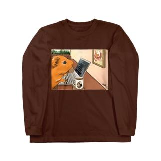 ノマドワーカーなモルモット Long sleeve T-shirts