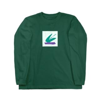 はじけるミドリ、台座はムラサキ Long sleeve T-shirts