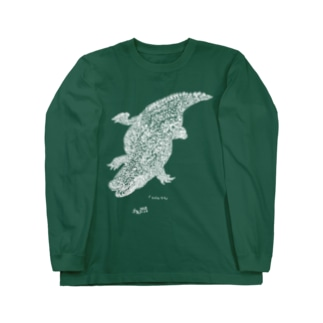 ナイルワニ(白) Long sleeve T-shirts