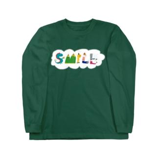 ゆっちょのへんてこやのSMILE+背景付きヨコ Long sleeve T-shirts
