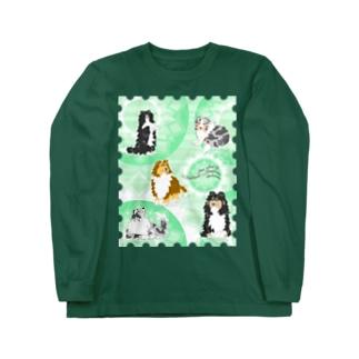 Five colors of Shetland Sheepdogs.~Mint green~ Long sleeve T-shirts