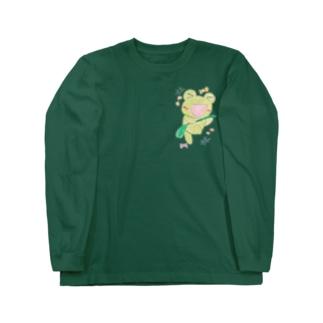 やんわり店舗(アリサ)のダンシングあめかえる Long sleeve T-shirts