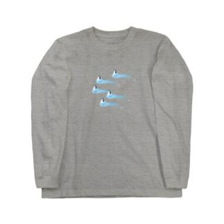 氷とペンギン(5羽) ロングスリーブTシャツ