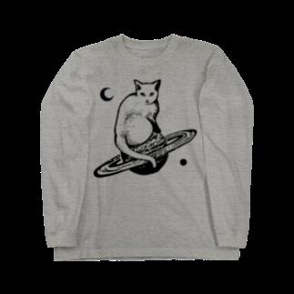 金星灯百貨店のスペースキャット 黒線ロングスリーブTシャツ