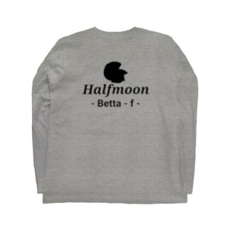 Halfmoon Betta⑥Black 背面 Long sleeve T-shirts