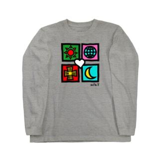 ユニバース(手描風) Long sleeve T-shirts