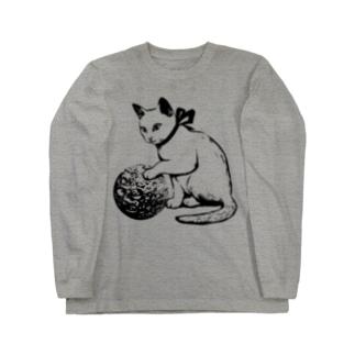 ボール遊び 黒線 Long sleeve T-shirts