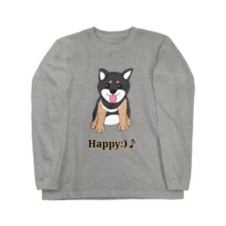 うるうる黒柴犬ちゃん 英語ロゴ Long sleeve T-shirts