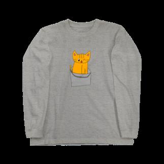ねこまちランドのバケツねこ Long sleeve T-shirts