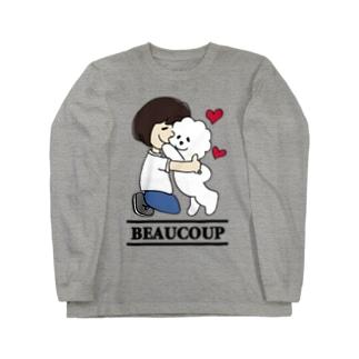 Funny Mill SUZURI店の抱っこワンコ Long sleeve T-shirts