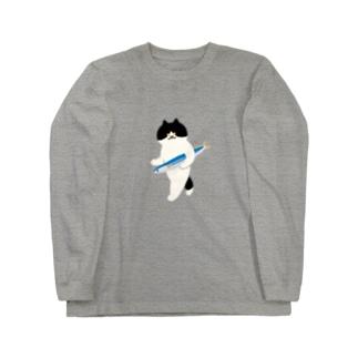 【中】盗んだサンマと歩き出す猫 Long sleeve T-shirts