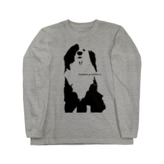 片パンダのボーダーコリーMIX Long sleeve T-shirts