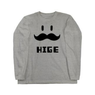 ヒゲHIGE(黒) Long sleeve T-shirts