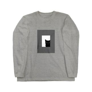 猫の窓(モノクロ) Long sleeve T-shirts