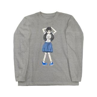 ブルーな女の子 Long sleeve T-shirts