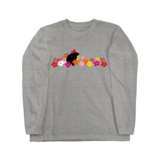 ハイビスカスクロウサギ Long sleeve T-shirts