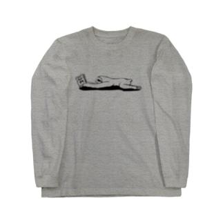 本と、なまけもの(モノクロ) Long sleeve T-shirts