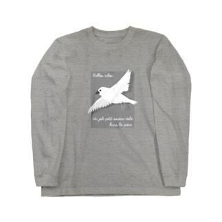 文鳥のつばさ グレー Long sleeve T-shirts