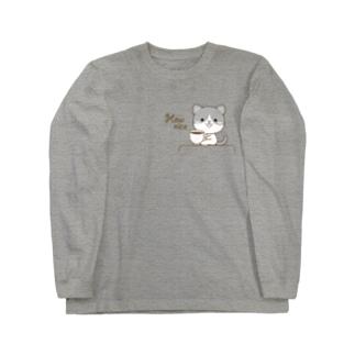 黒白猫のシンプルモノトーン Long sleeve T-shirts