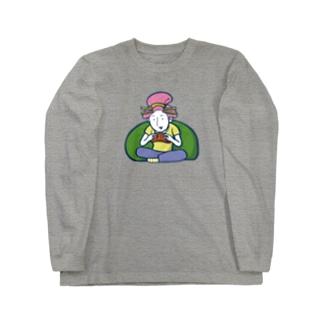 Gaming Girl(ビッグイラスト)/濃色ロングスリーブTシャツ Long sleeve T-shirts