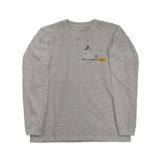とんがり帽子猫(箒ランプ) Long sleeve T-shirts
