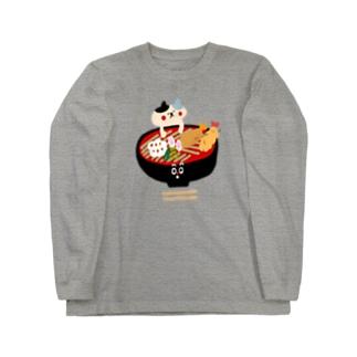 天ぷら蕎麦とねこ Long sleeve T-shirts