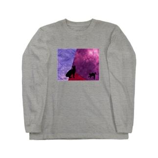 黒猫ワイン🍷 Long sleeve T-shirts