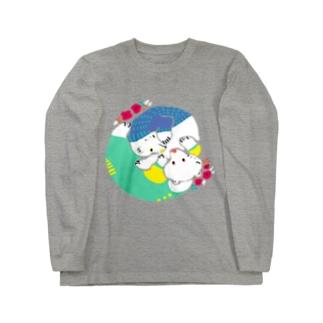 クマとクマでぐるぐる Long sleeve T-shirts