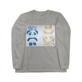 イエローパンダ&ブルーパンダ Long sleeve T-shirts