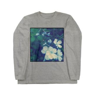 blue flower Long sleeve T-shirts