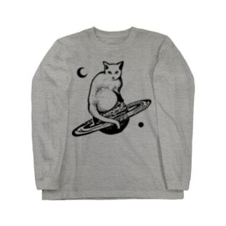 スペースキャット 黒線 Long sleeve T-shirts